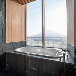 Stellar bathroom views of Mt Yotei.