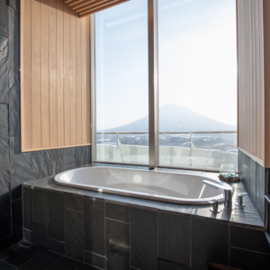 Stellar bathroom views of Mt Yotei.