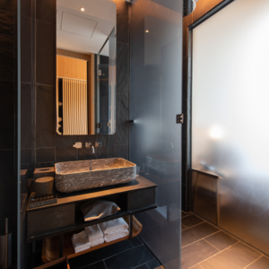 The bathroom is modern and chic.